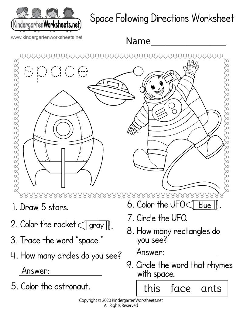 small resolution of Kindergarten Space Following Directions Worksheet   Space activities for  kids