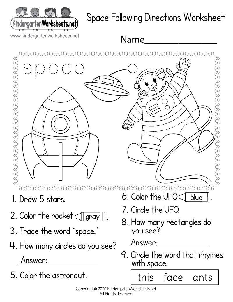 Kindergarten Space Following Directions Worksheet   Space activities for  kids [ 1035 x 800 Pixel ]