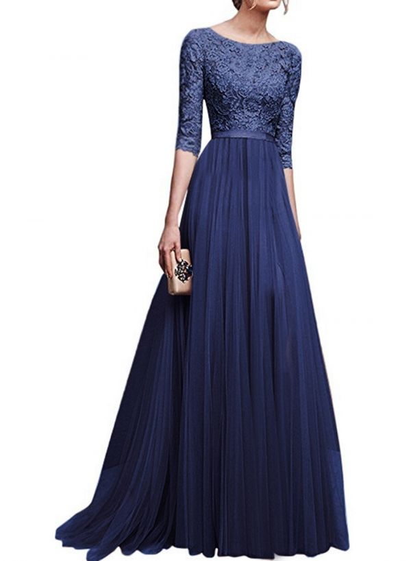 92c9ce69db6 Women s Lace Paneled Slim Fit Prom Dress - ROAWE.COM