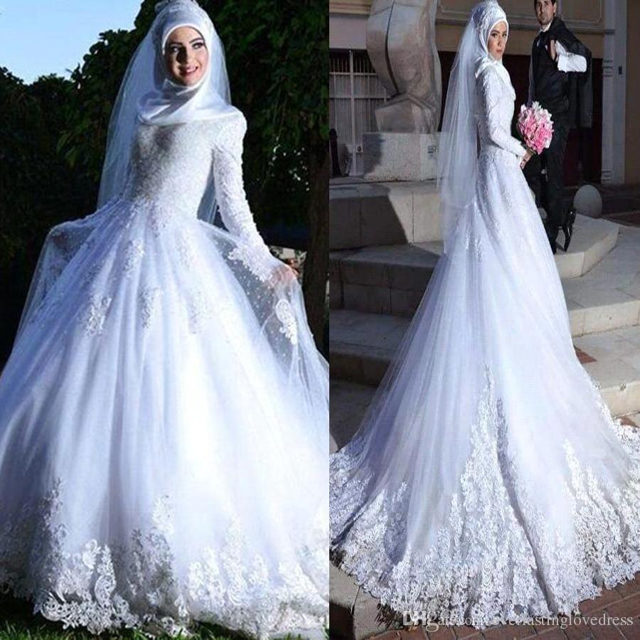 Long sleeve muslim hijab wedding dress lace up back lace applique