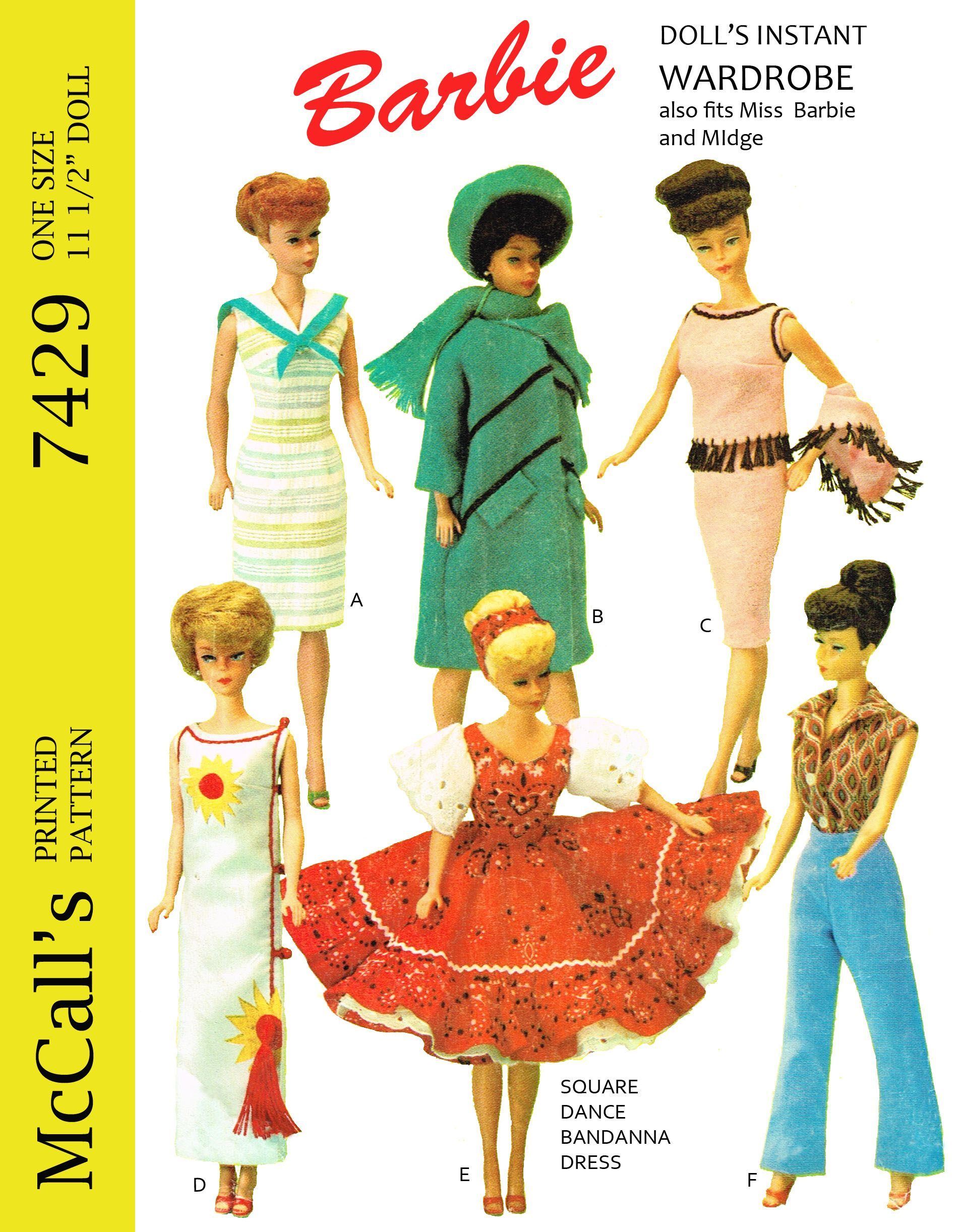 McCalls 7429, reproduced pattern for 11 1/2 inch doll such as barbie ...