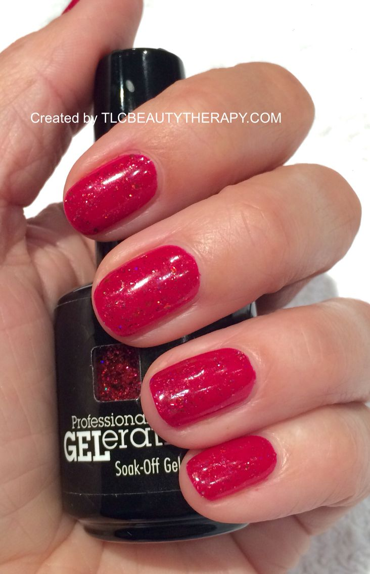 Red glitter Christmas Nails. Jessica GELeration Gel in Merlot with ...