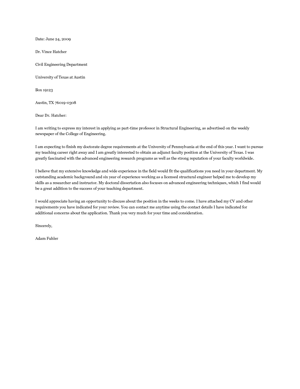 Professor Cover Letter Sample For Teaching Position