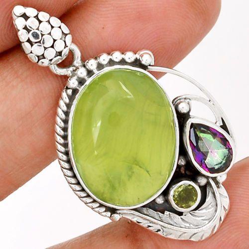 Prehnite-Rainbow-Topaz-Peridot-925-Sterling-Silver-Pendant-Jewelry-SP171867