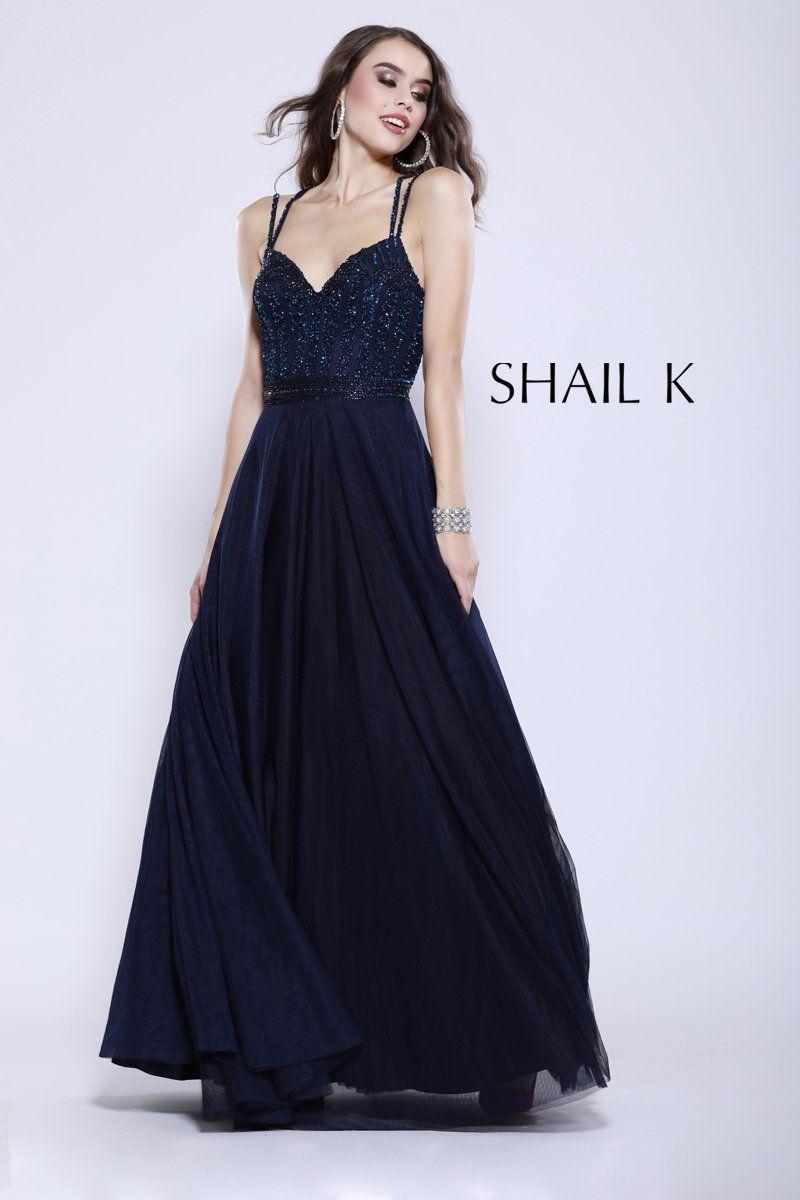 Double strap embellished bodice flowy black prom dress glam