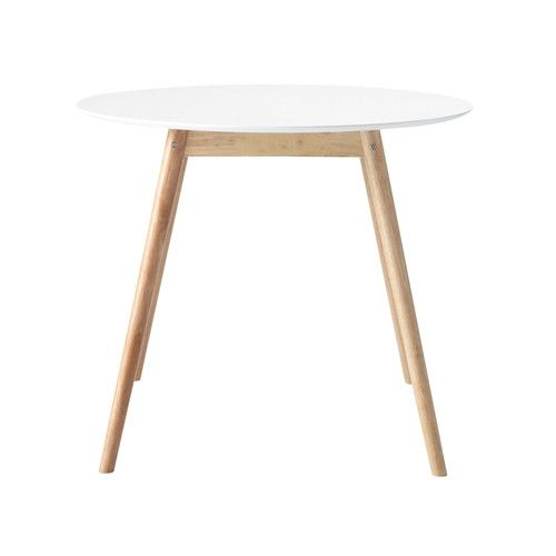 Table ronde de salle manger en h v a blanche d 90 cm - Table ronde blanc ...