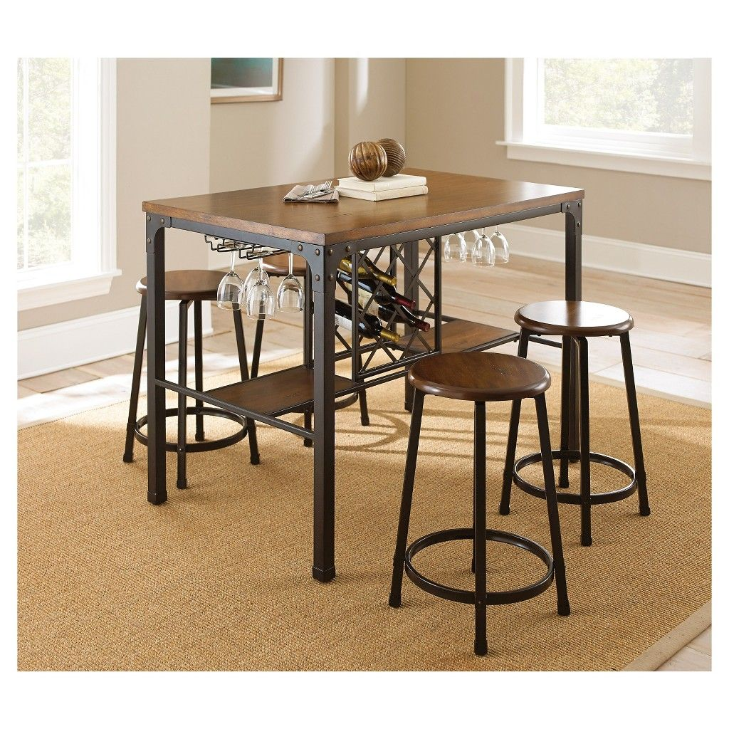 5 Piece Reba Counter Height Dining Table Set Metalbrown  Steve Simple Steve Silver Dining Room Set Design Ideas