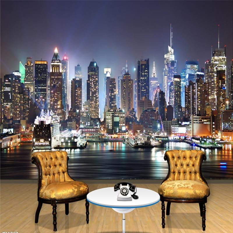 Beautiful City Skyline At Night This 3d Wallpaper Mural Is Good For Living Room Office As Well As Bedroo Wallpaper Living Room View Wallpaper Mural Wallpaper