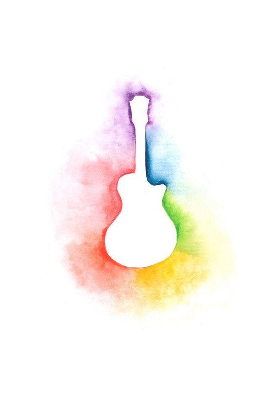Watercolour Rainbow Guitar Music Print A4 A5 Greetings | Etsy
