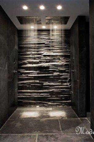 Modern Master Bathroom With Oregon Tile And Marble Brazilian Grey Slate Tile,  Handheld Showerhead,