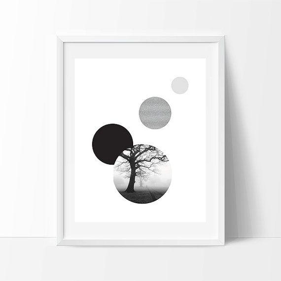 Tree print black white print geometric printable art circle print modern art