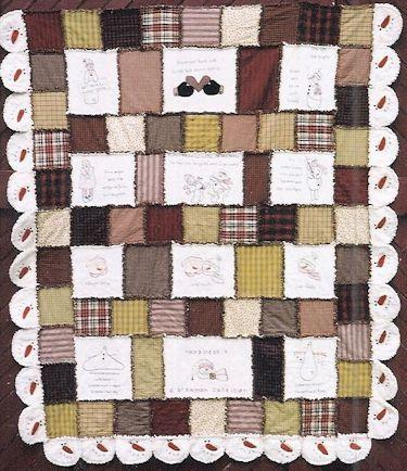 snowman rag quilt with 12 primitive stitchery blocks | Quilts- Rag ... : snowman rag quilt pattern - Adamdwight.com