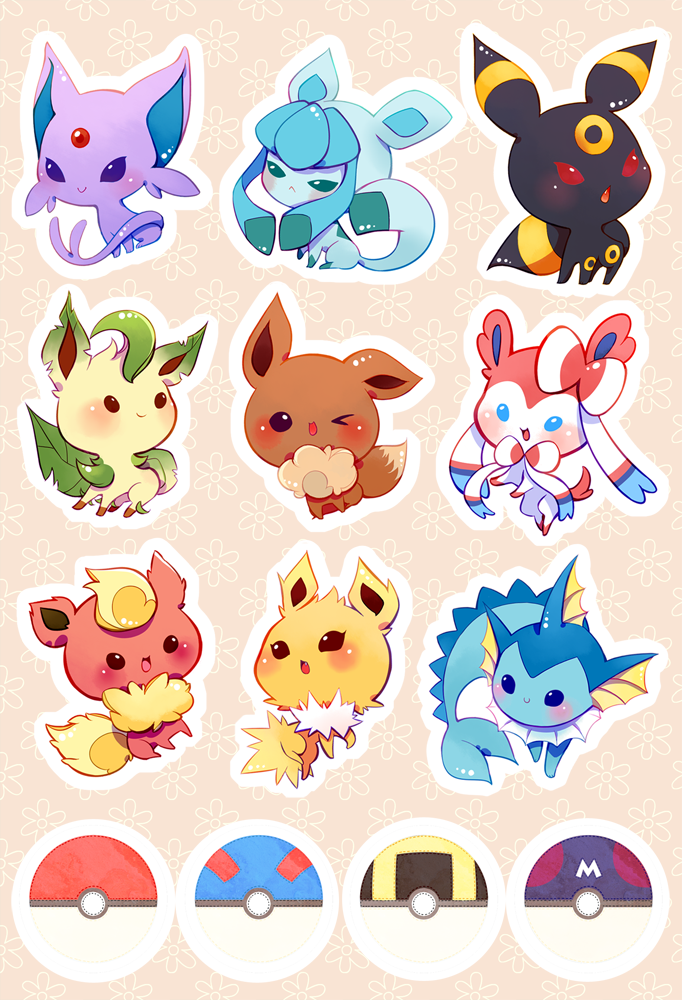 Fishnbacon eevee and crew stickers on glossy paper comes kiss cut ready to peel and stick for your convenience