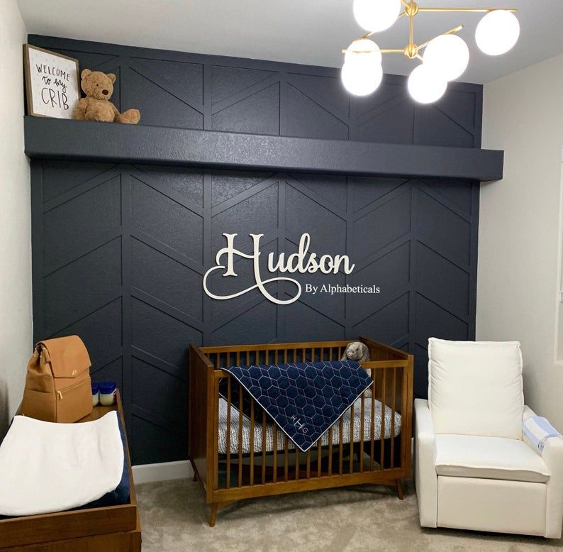 Wooden Name Sign for Nursery Boy Girl Wall Letters for Wall Decor Alphabeticals Baby Name Signs for Wall Over Crib Name Letters Hudson