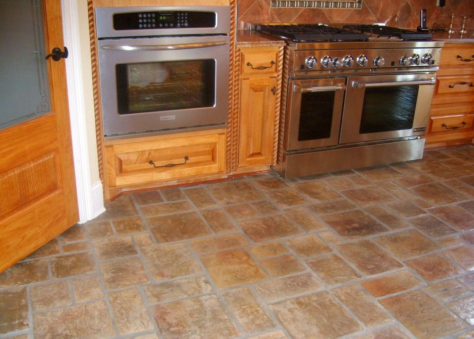 Delightful Real Inspiration Kitchen Floor Tile Design With Enthralling Light Gold  Brick Sandstone Flooring With Awesome Log Part 27