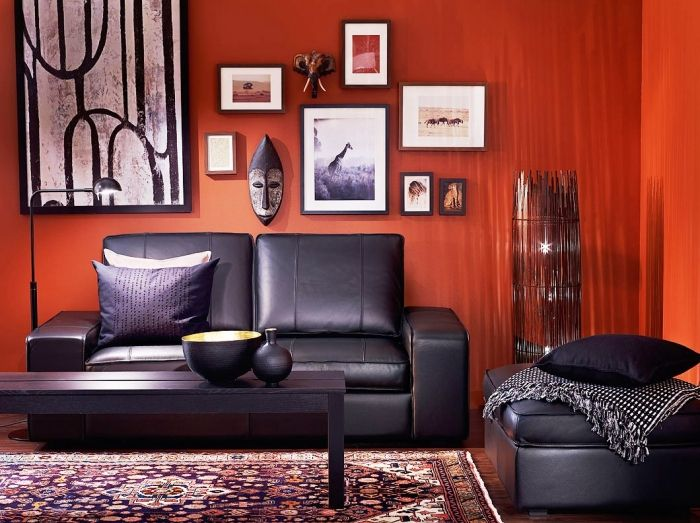 Amazing Red Orange And Black Living Room Gallery Part 10