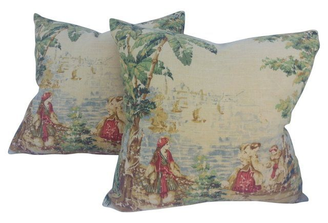 French Linen Toile Pillows, Pair