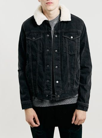 BLACK BORG LINED DENIM JACKET | Topman | Borg lined denim ...