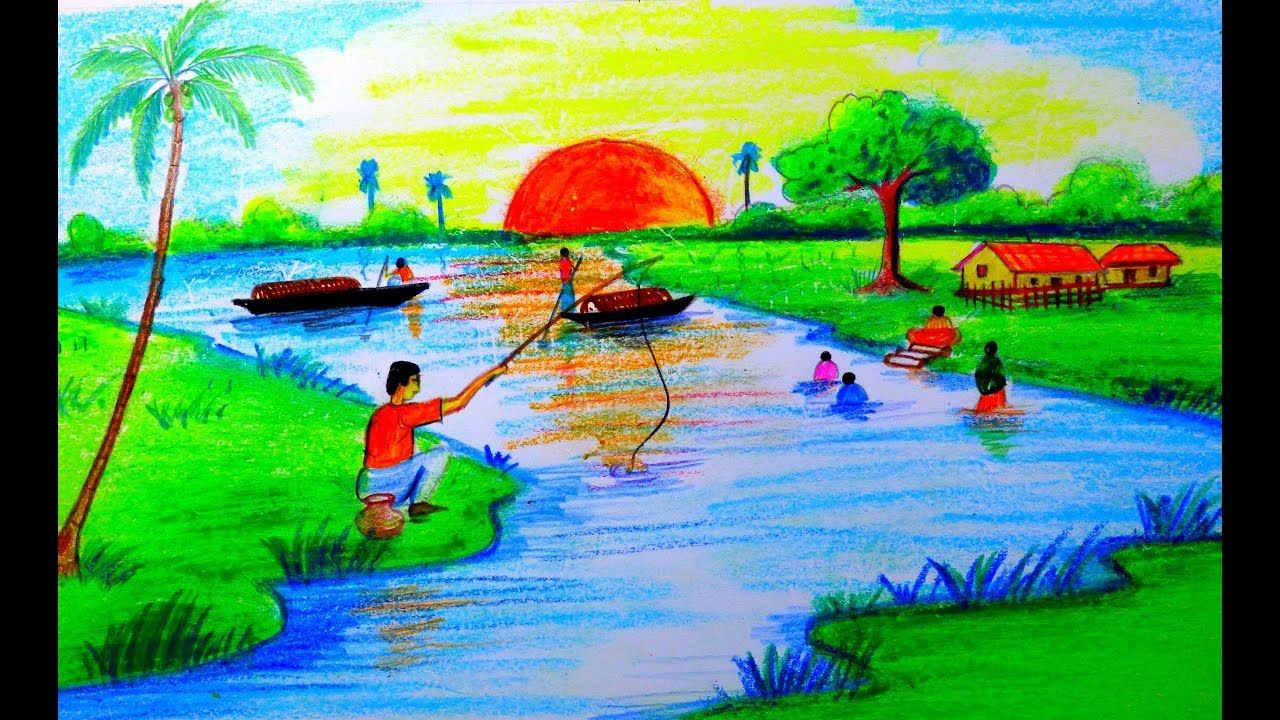 How to draw riverside village scenery by oil pastel and colored