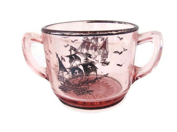 Pink Depression Glass Sugar Bowl with Two Handles on Wanelo