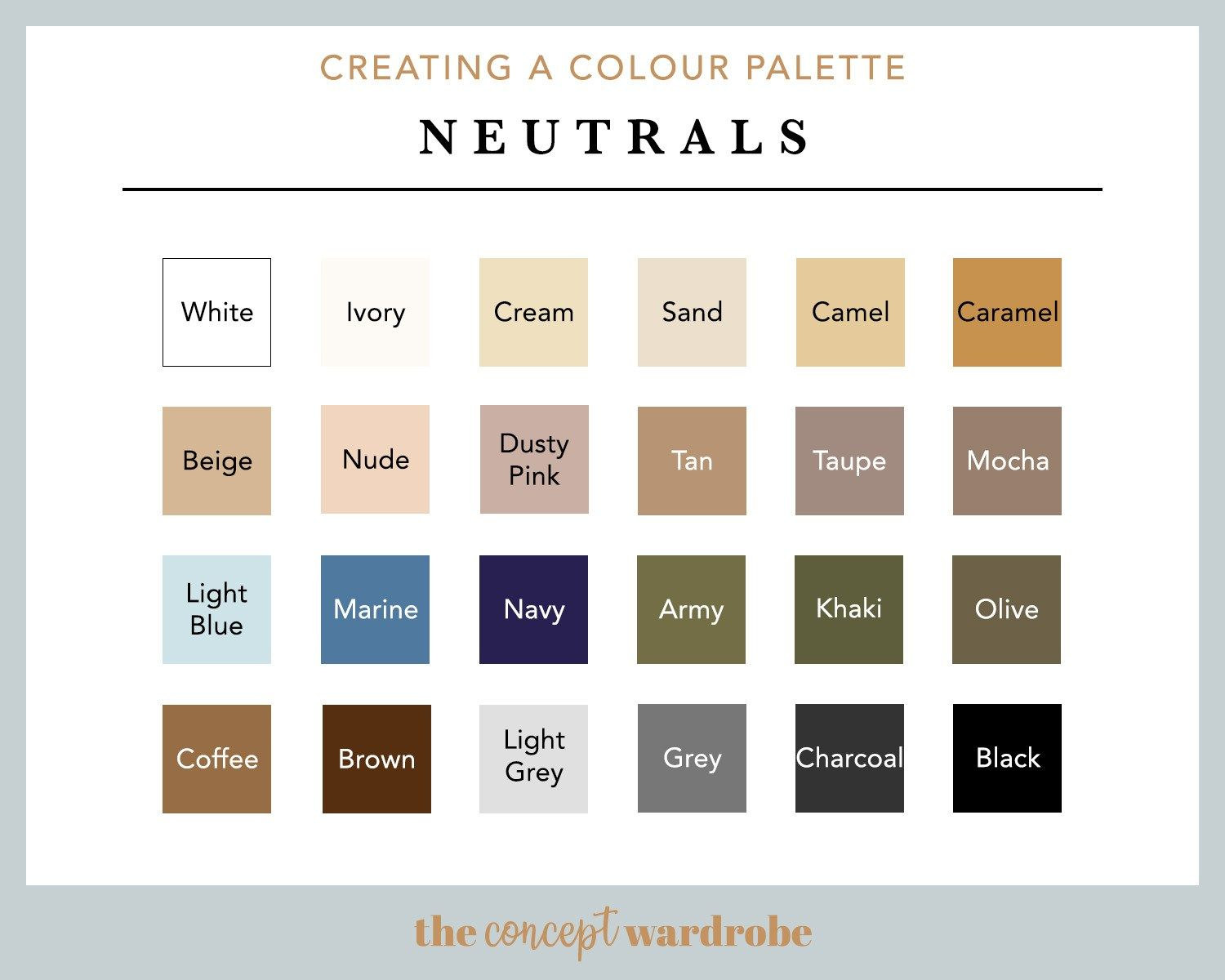 Step 4 Create A Colour Palette The Concept Wardrobe Beige