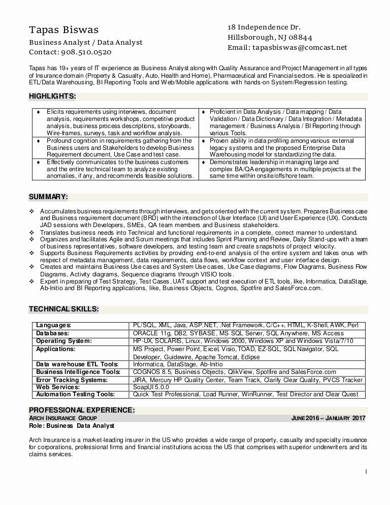 Agile Business Analyst Resume Fresh Resume Of Tapas Biswas