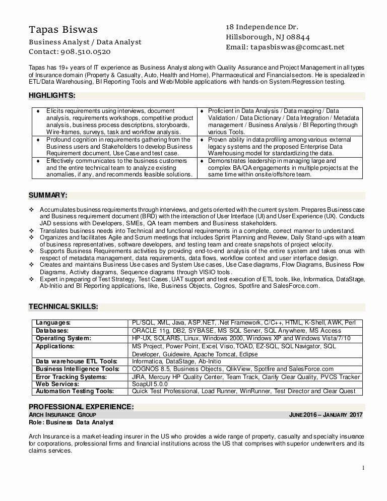 Agile Business Analyst Resume Fresh Resume Of Tapas Biswas Business Analyst Business Analyst Resume Business Analyst Job Resume Samples