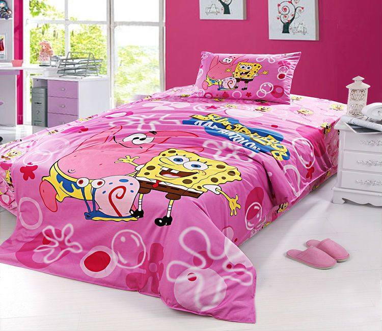 Pink spongebob twin full bedding set girls duvet cover Kids ... : spongebob quilt cover - Adamdwight.com