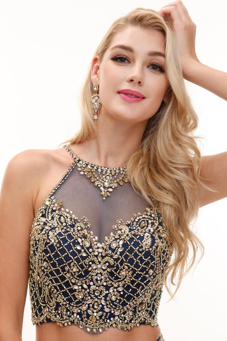 Stunning Navy & Gold - Style 32136 #avapresley (With images) | Prom style, Bride hairstyles, Prom