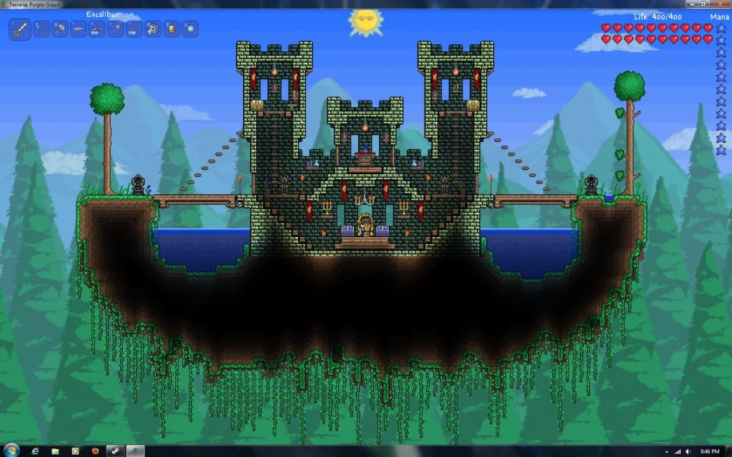 Awesome Use Of A Floating Island Terraria House Design