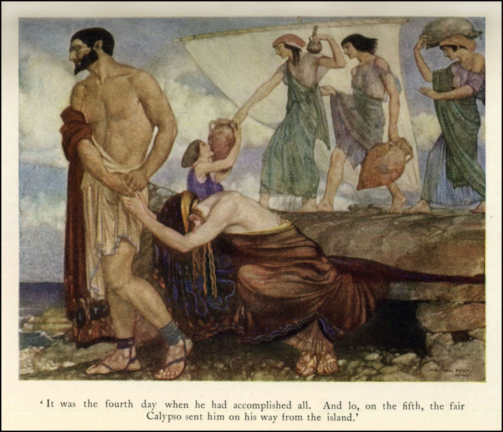 calypso book five of the odyssey Book v: hermes is sent to calypso's island odysseus makes a  raft and is carried to the coast of scheria athena again pleads to.