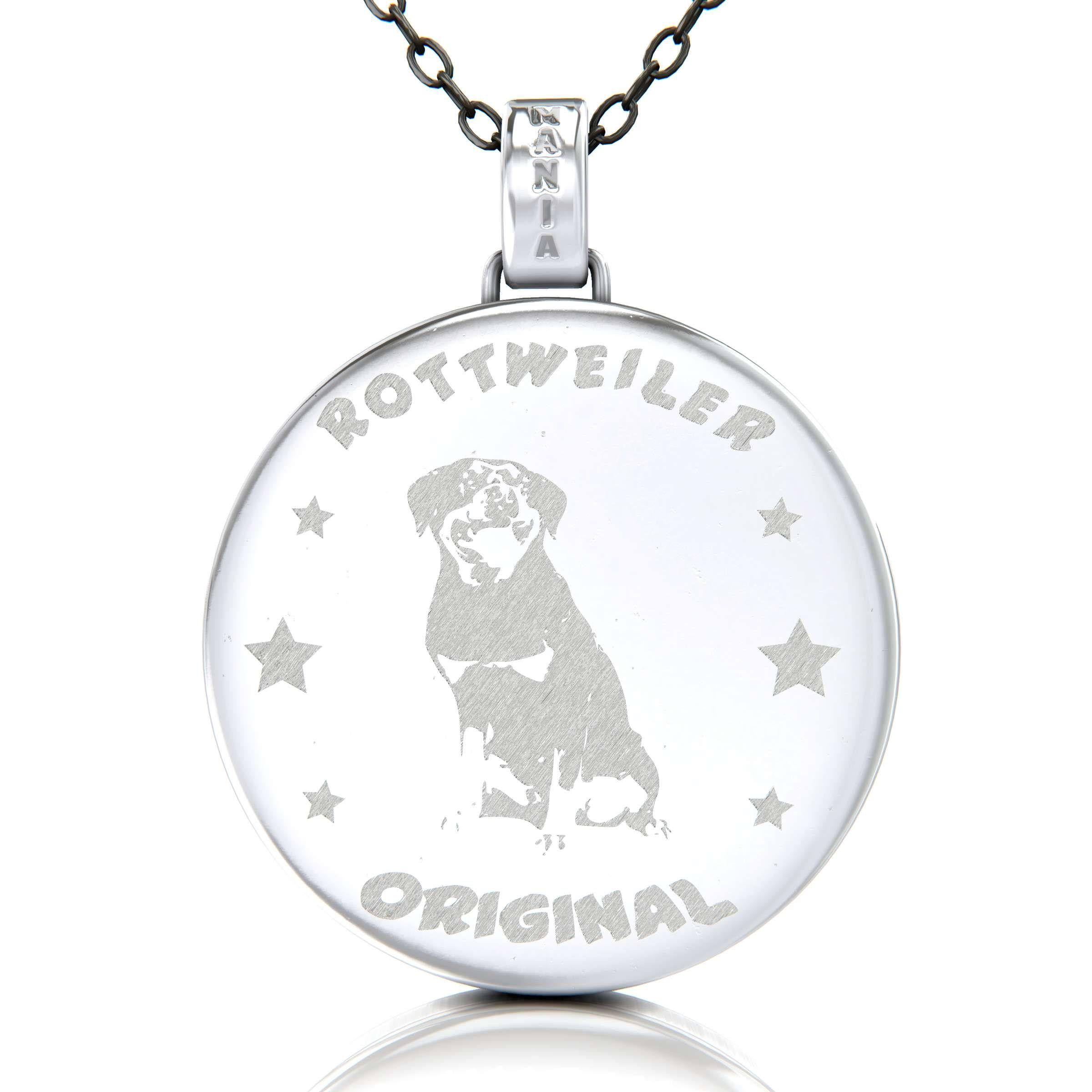 Rottweiler Hund Kette Mit Gravur Auf Anhanger Aus 925 Silber Rottweiler Hund Rottweiler Gravur