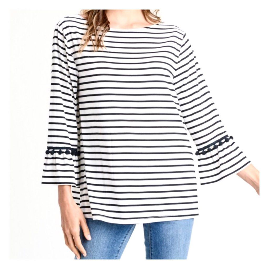 76810f4f73fcdd Ivory & Black Stripe 3/4 Bell Sleeve Top with Pom Trim | Tops | Tops ...