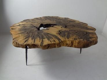 Natural Waxed Organic Low Burl Wood Coffee Table On Three Metal Giacometti  Hand Hammered Legs |