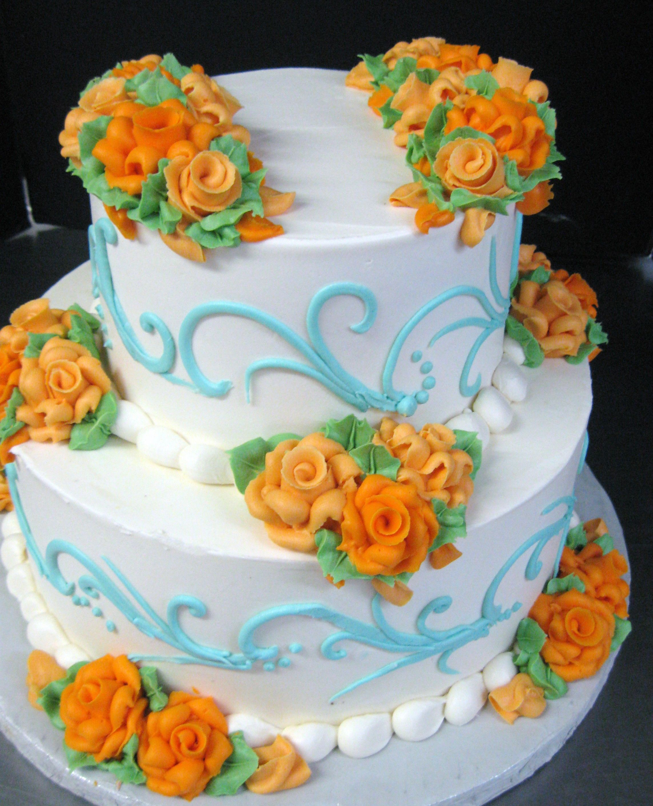 Simple Wedding Cake Designs With Flowers: Soft Blue Simple Scroll & Buttercream Flowers In 2019