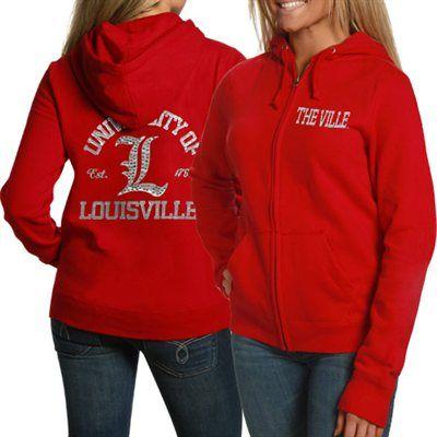 4a40d7bf648  FANATICS Louisville Cardinals Ladies Red Victoria Full Zip Hoodie  Sweatshirt