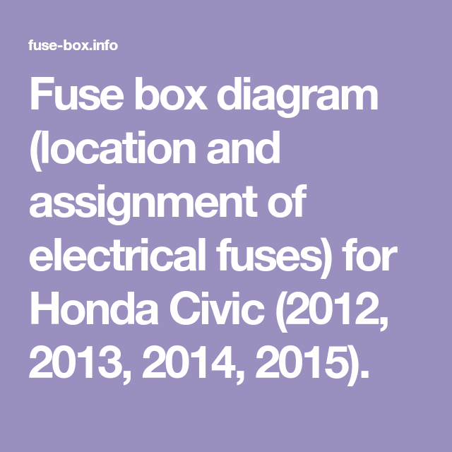 Fuse Box Diagram Location And Assignment Of Electrical Fuses For Honda Civic 2012 2013 2014 2015 Fuse Box Electrical Fuse Fuses