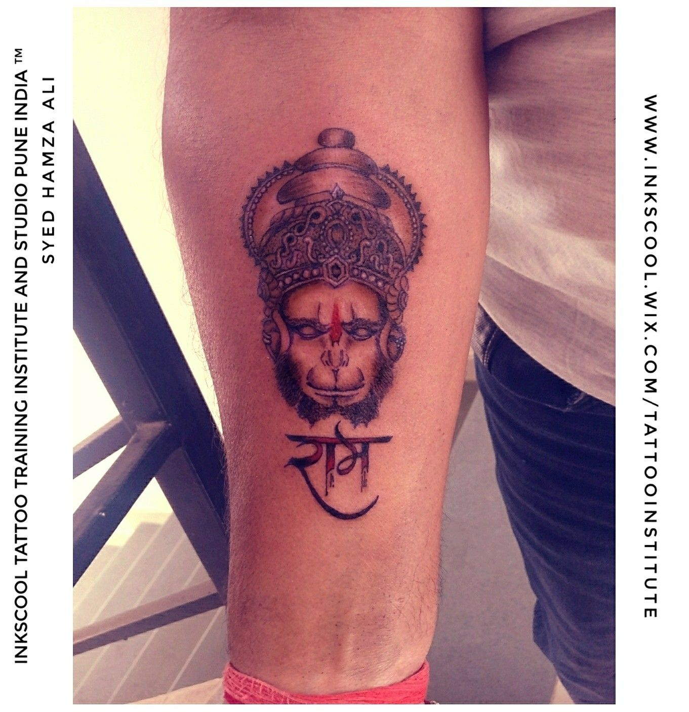 Hanuman tattoo design made by Tattoo Artist Syed Hamza Ali