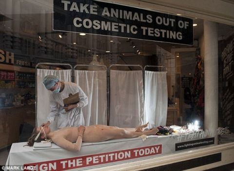 Lush Cosmetics Subjects Human to Bizarre Animal Testing Sequence in Store Window
