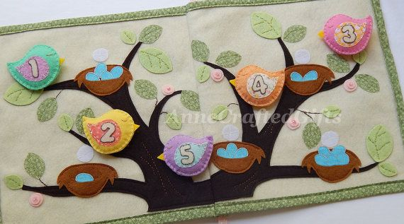 Count the eggs then fly the cute little birds to their matching nests! Inspired by my two sweet little girls, this quiet book page (part of my
