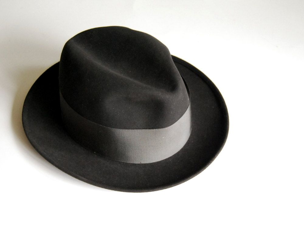 Vintage Mens Fedora Hat Wool Dobbs Black Mad Men Hat Size 6 3 4.  68.00 bb128b56da07