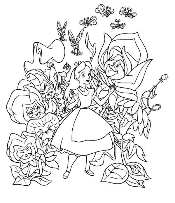 Pin By Velvie Thornton On Disney Coloring Pages Alice In Wonderland Flowers Disney Coloring Pages Cartoon Coloring Pages