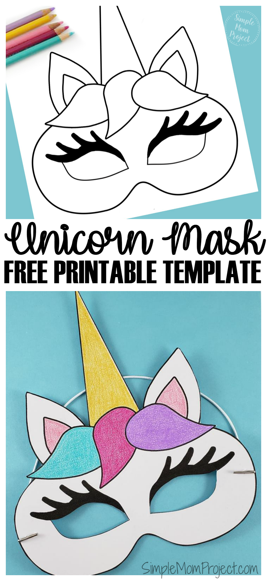 It is an image of Printable Unicorn Mask inside black