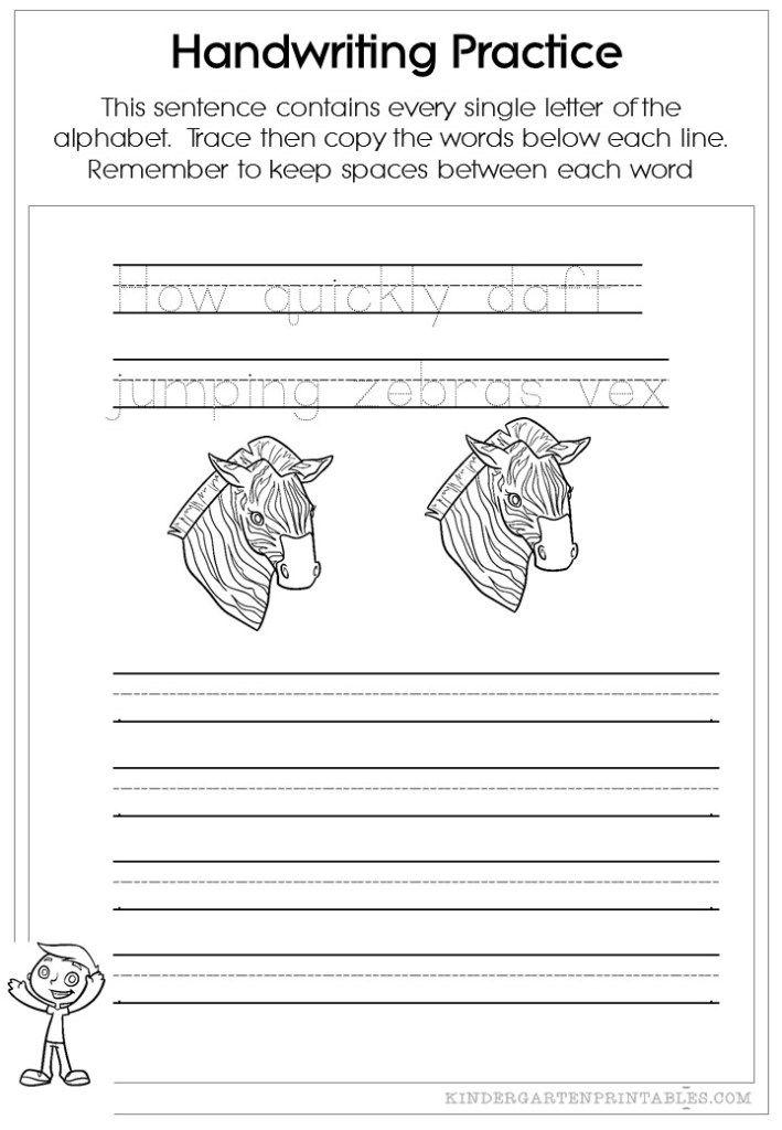 Pangram Handwriting worksheets   Writing   Pinterest