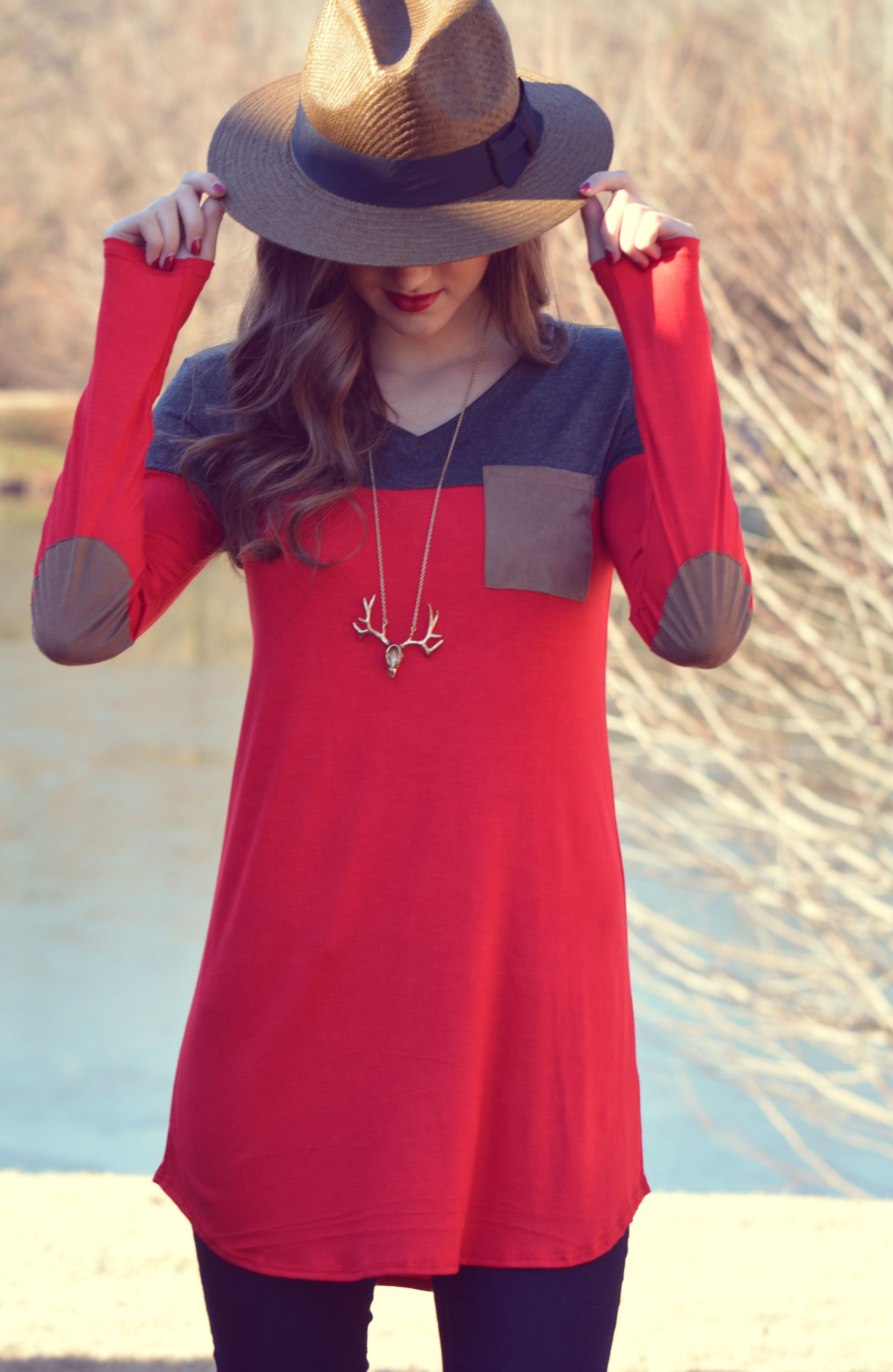 Red and Grey Elbow Patch Tunic/Top  shopbelleboutique.com