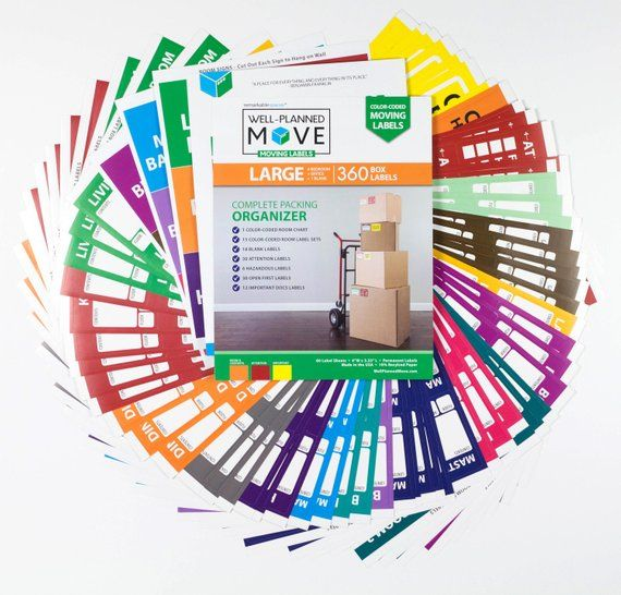Moving Home Removal Box /& Furniture Labels Removable Adhesive Colour Coded