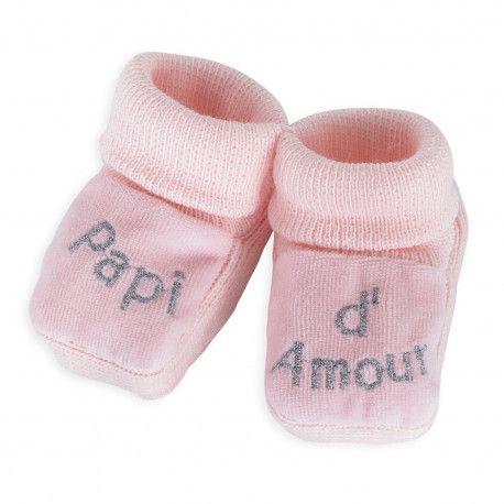 390d0898ca222 Faites passer le message avec ces jolis chaussons roses !  chaussons  bébé