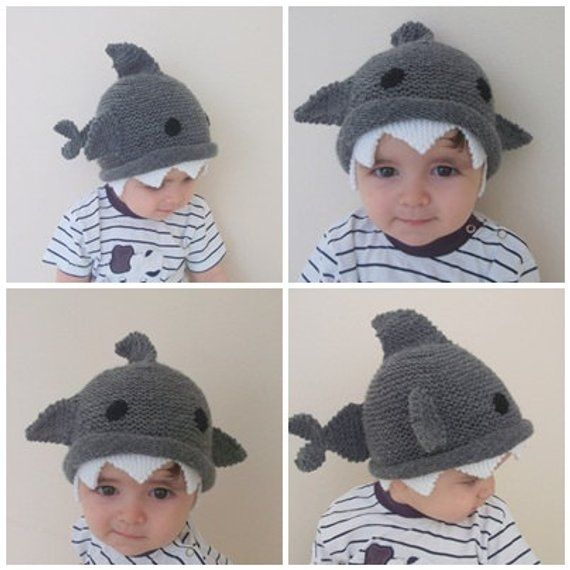 Shark hat -Knitting Baby Hat - for Baby or Toddler-Size 6-12 months-Dark  gray baby hat-boy hallowe f80980b1848
