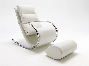 Fauteuil relax  bascule simili cuir blanc chaise longue de