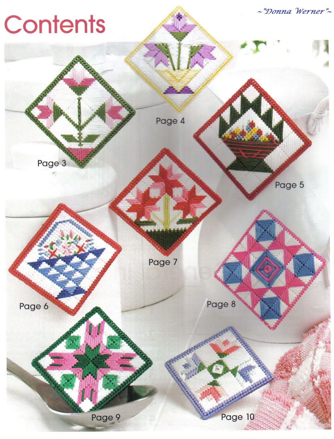 13 Magnets Fridgies Motifs plastic canvas pattern book NEW Quilt Block Fridgie